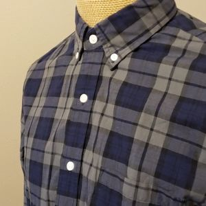 J crew blue grey black plaid long sleeve shirt